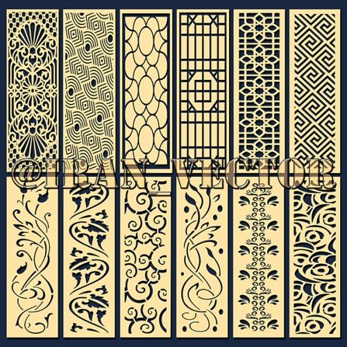 دانلود الگوهای برش پنل مشبک - کد 2150 - طرح های وکتور